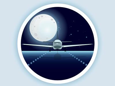 Designalma moon plane illustrator illustration flatdesign vektor desain