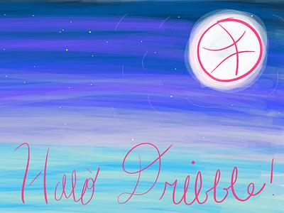 Halò Dribble illustration bright gradient moon stars night hello logo blue gaelic scottish