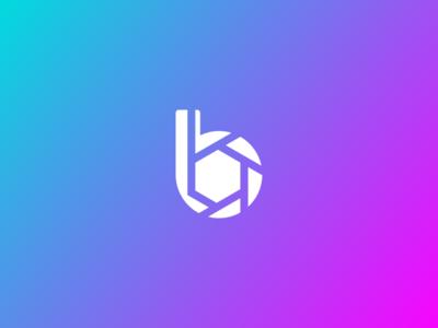 Berkograph gradient photographer icon letter b vector logo photography