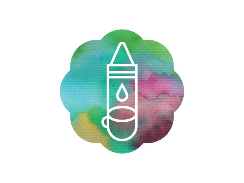 Crayons & Coffee Logomark illustration children education watercolor logomark logo coffee crayons