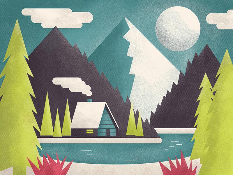 Lake House  photoshop illustrator scene texture vector illustration