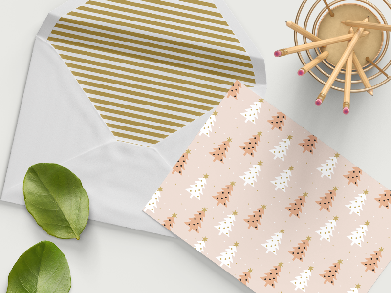 Holiday Stationery opulent.studio winter trees stripes holiday stationery illustration seamless pattern