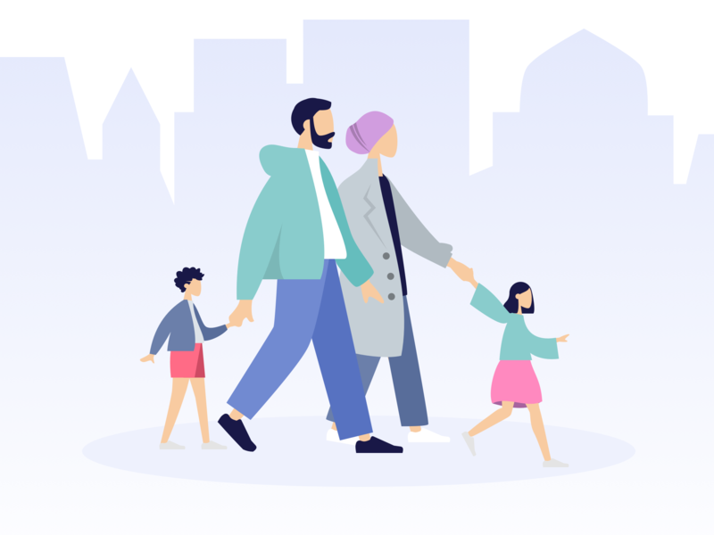 Family Time vector flat 2d health fitness trip travel fun entertainment step walking turkey moslem iran happy graphic design illustration life isometric people family