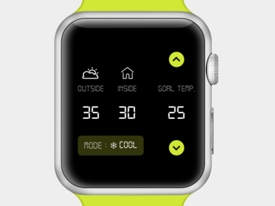 Smart home (Thermostat) iot thermostat intelligence smarthome apple watch watch mockup temperature ui simple typography ux branding design flat 2d minimal clean