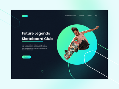 Skateboard Hero Header glassmorphism man uidesigner gradient web design ui design skateboard hero header uiux ui