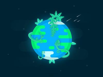 Growing Planet vector design illustration vegetation plants earth