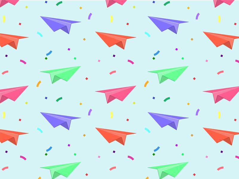 Paper Plane Pattern party paper airplane sky pattern paper flat flat art vector adobe illustrator illustration