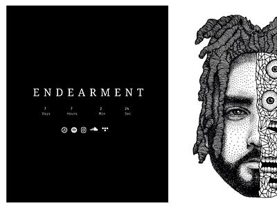 Endearment Launch Page instagram soundcloud tidal apple music spotify music minimal website design web ux ui illustration