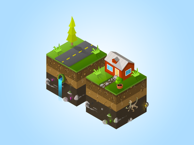 Iso Game elements isometric perspective flat