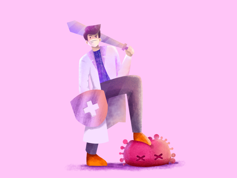 Hero 🔥 heroes hero digital drawing isometric corona virus doctor design graphic illustrator animation minimal flat character vector illustration