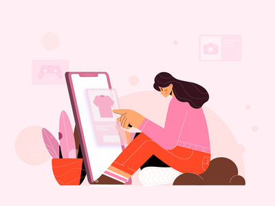 Stay at home, Stay Shopping 🛍 illustrations illustration design illustration art flat illustration imagination flat shopping ecommerce item store online shop website branding illustrator character vector graphic design minimal illustration