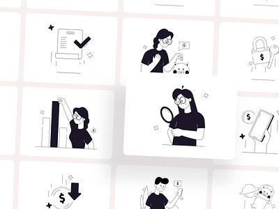 Limple - Mobile Banking Illustration Pack 🤑 finance bank banking products product product design animation after effects motion design animation design animation 2d animations animation vector art vector illustration illustration digital illustration design illustration art illustrations illustrator illustration