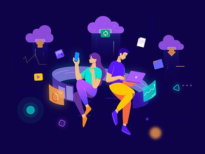 Cloud Storage Illustration ⛅️⬆️ synchronization work statistics graphic vector cloud storage character design illustrator illustration