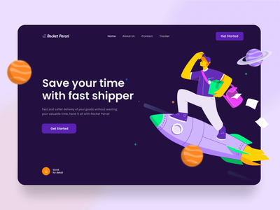 Rocket Parcel Landing Page Interaction 🚀🔥 interaction ux ui character web design illustration animation