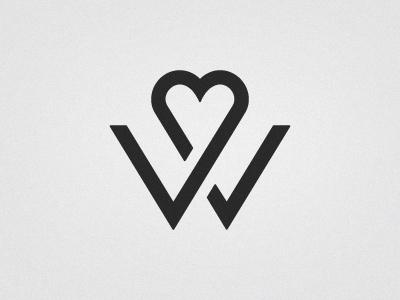 Wedding Logo wedding monogram logo letter w heart