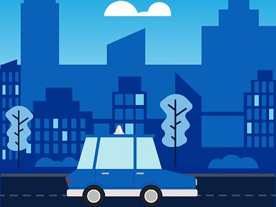 vroom vroom urban city taxi car illustration