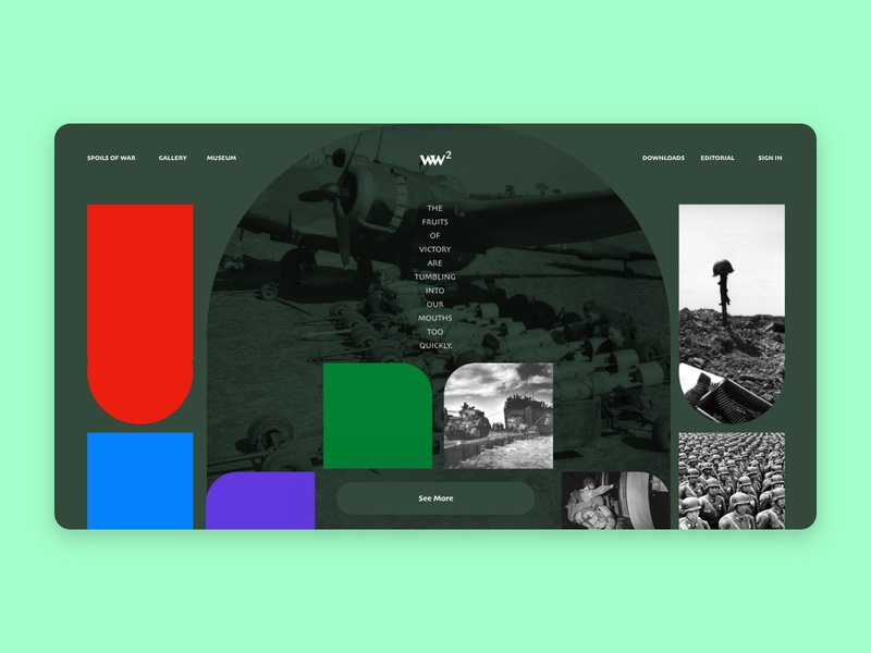 The World War 2 website web ux ui typography minimal graphic design flat design