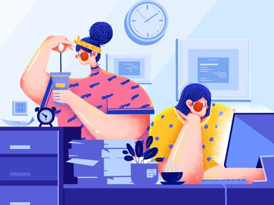 Office Life-3 life blue logo office couples time ux yellow girls girl ui illustration design