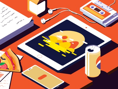 My workbench paper pizza headset yellow orange workbench work web office time ux ui illustration design