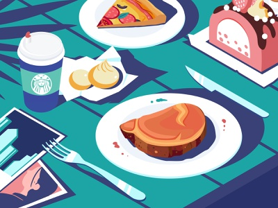 Table knife fork cake pizza photo coffee web table office time yellow ux ui illustration design
