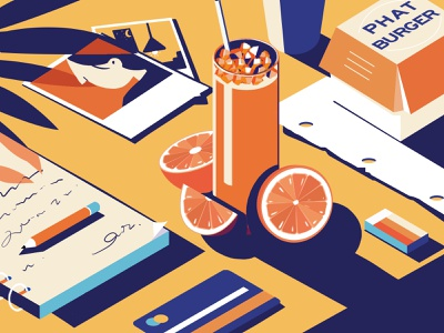 Table-4 hamburger blue photos card paper book oranges cup web ux ui yellow design illustration