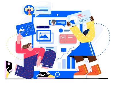 Information-3 communication cooperation message information time office yellow blue branding web ui illustration design
