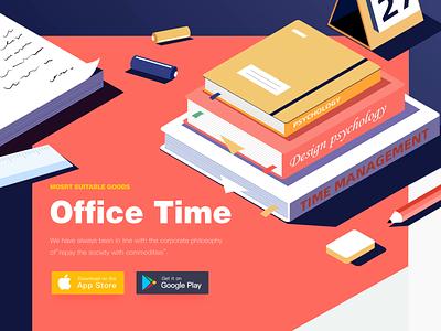 Office Web stationery books paper headset orange office blue web time ux ui yellow illustration design