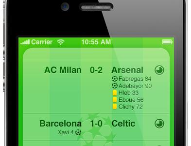 Football Scores app iphone