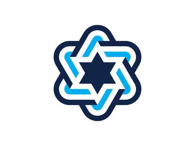 Blue Stripe Star hex star
