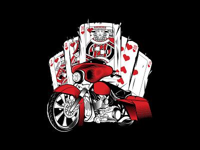 POKER RUN vector harley davidson bike illustration harley motorcycle moto king of hearts playing cards poker run