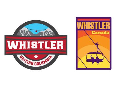 Whistler Patches logo badge mountain winter snowboarding ski canada whistler patches concept