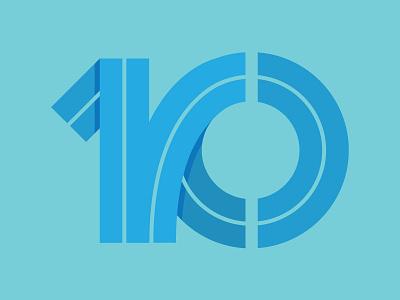TEN handmade illustrator blues blue thick lines typography number 10 ten