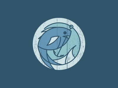 Fishy vector fishing nautical water geometric round icon logo fish