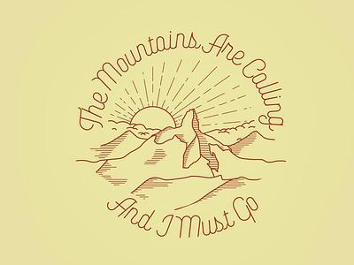 Mountains are calling illustrator line art british columbia mountains whistler