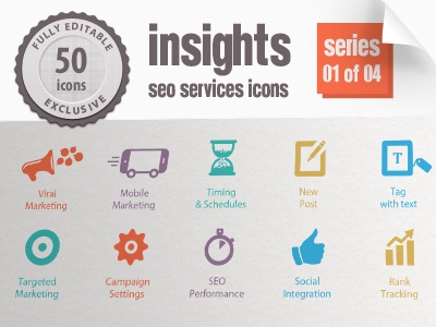 Insights Seo Icons Series 01 search engines marketing seo icons insights icons niche publications traffic drive branding analysis web analytics data mining marketing mix search engines marketing