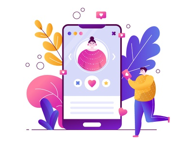 Online Dating2 phone people mobile dating character app flat vector illustration design