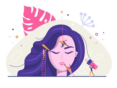 Permanent makeup flat vector illustration design
