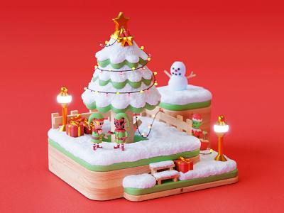 Merry Christmas! miniature design character art art 3d art cute 3d digital illustration blender