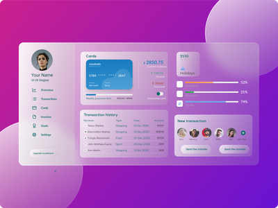 Glass morphism dashboard design glass morphism overview profile payment dashboard payment card admin design admin dashboard dashboard glassmorphism morphism glass