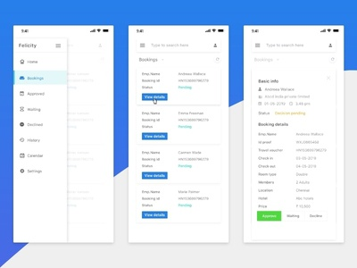 Booking Decision Process Mobile Interface