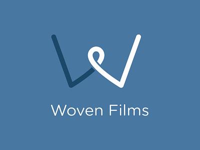 Woven Films logo flat type mark brand branding icon clean design blue typography logo design vector minimal identity logomark color colour minimalism maxim