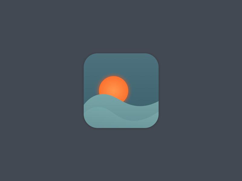 App Icon evening waves sun sunrise ocean sunset daily ui 005 ui daily icon app