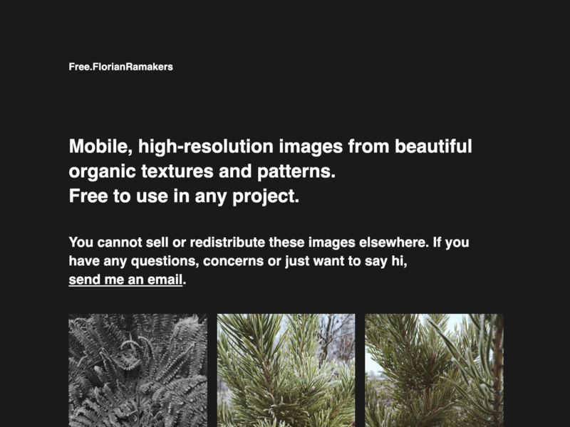 Free.FlorianRamakers 2020 angular webdesign website nature dark mode design photography images stocks
