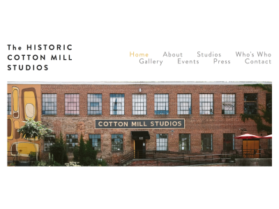 Historic Cotton Mill Studios Website nc photography web design website asheville