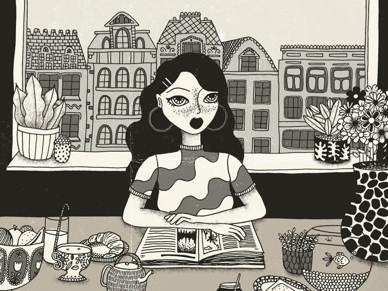 Breakfast hand drawing draw drawing artist girl food city vector illustrator illustration digital art digital ink art