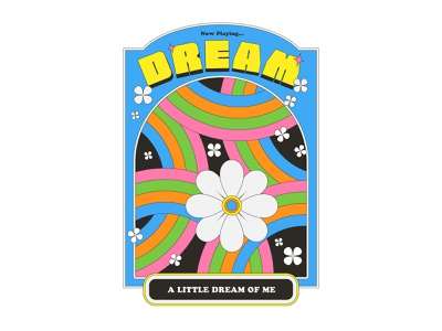 Dream A Little Dream Of Me color retro flowers design maggiewitherow vector illustrations dream