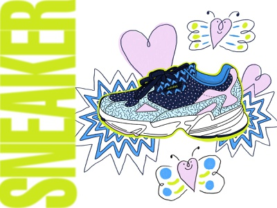 Adidas Sneaker heart sneaker illustration sneakers adidas doodle color design illustrator illustration maggiewitherow