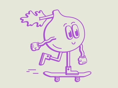 Fig character illustrator fig skateboard maggiewitherow illustration