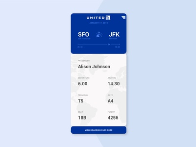 Daily UI Challenge 024 - Boarding Pass united boarding day24 daily ui ui dailyui daily challenge app