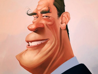 Caricature of Arnold Schwarzenegger digital painting celebrity caricature
